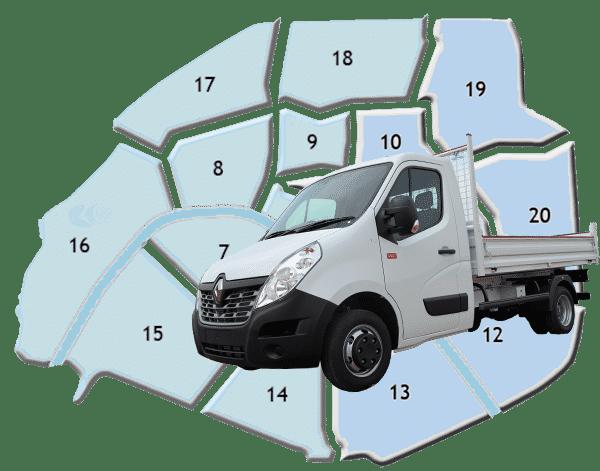 Camion-benne pour enlèvement rapide à Paris